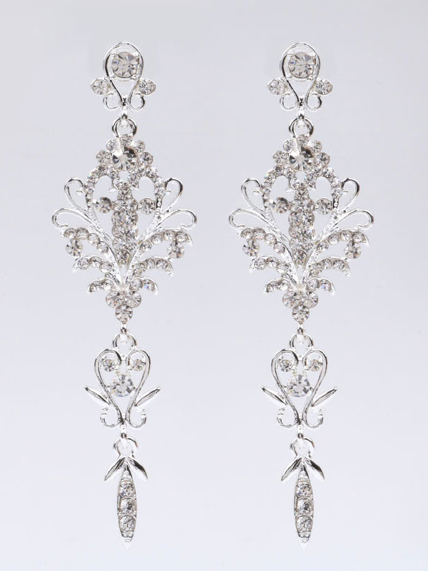 Buy Silver Wedding Earrings Rhinestones Pierced Bridal Earrings for $9.99 in Milanoo store