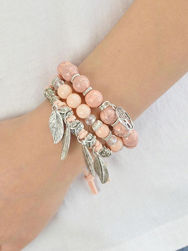 Pink Charm Bracelets Beaded Multi Layered Women's Leaf Pendant Bracelet