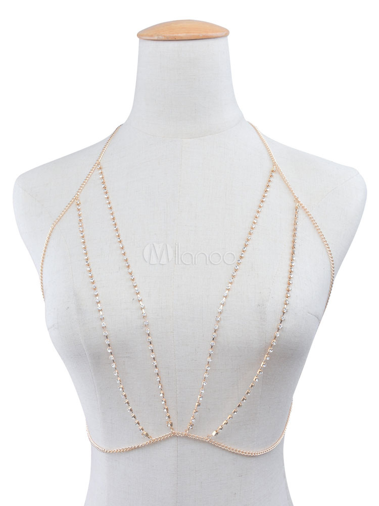 Buy Body Chain Bra Gold Sexy Women's Rhinestones Beaded Body Harness Jewelry for $5.99 in Milanoo store