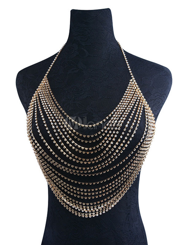 Buy Gold Body Chain Rhinestones Beaded Multilayered Summer Beach Body Harness Jewelry for $20.79 in Milanoo store