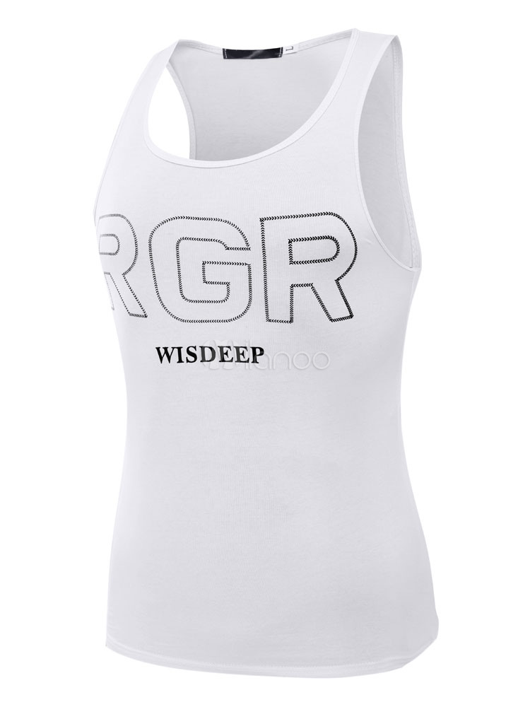 Buy Jewel Neck Letters Print Cotton Handsome Casual Men's Tank for $8.99 in Milanoo store