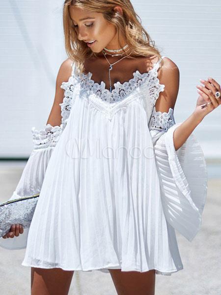 0375f43376 Blanco vestido de gasa sin tirantes de manga larga desmontable vestido de  manga larga corto- ...
