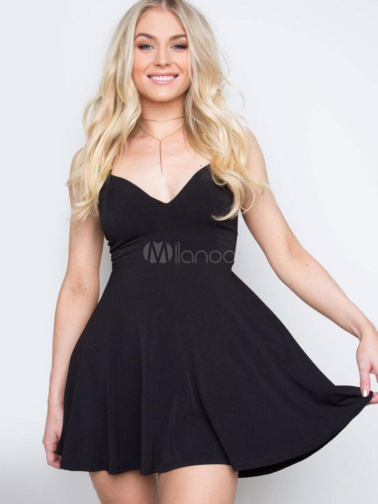 Black Skater Dress V Neck Back Cross Womens Short Summer Fit And