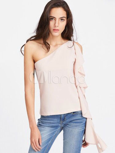 Buy Apricot Women's Blouses Cold Shoulder Cascading Ruffles Ribbon Women's Summer T Shirt Tops for $23.74 in Milanoo store