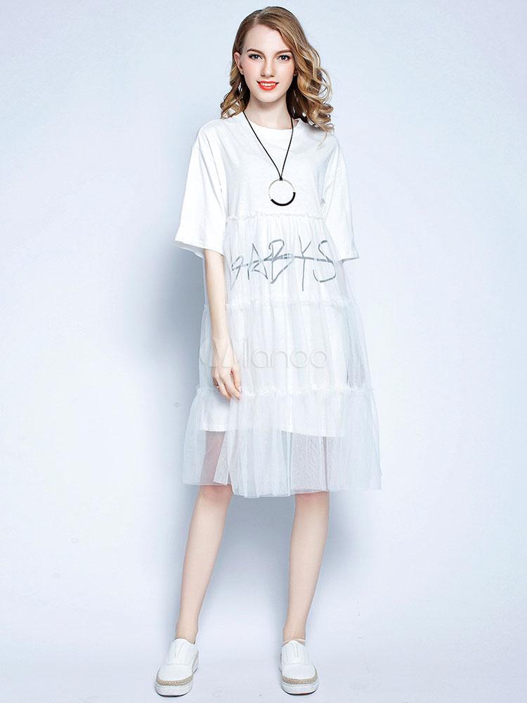 4dcbe57ce276 Vestiti bianchi da donna Vestiti estivi a mezza manica a strati di Tulle-No.