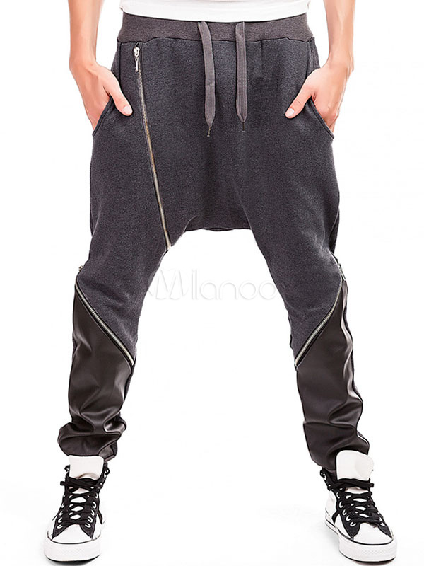 Men's Harem Pants Black Zipper Patchwork Color Block Trousers