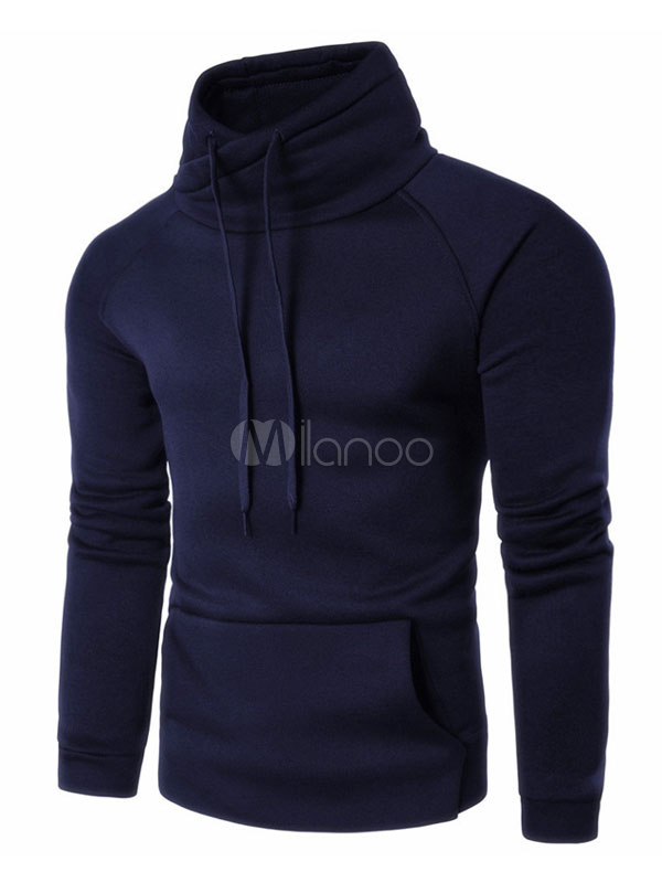 Dark Navy Hoodie Men's Stand Collar Long Sleeve Drawstring Overhead Sweatshirt