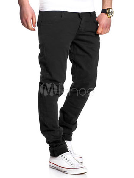 Buy Men's Black Pants Casual Straight Leg Long Pants for $23.74 in Milanoo store
