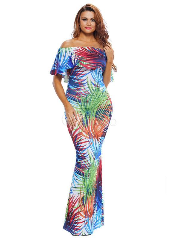 Buy Summer Maxi Dresses Floral Print Off The Shoulder Women's Floor Length Dress for $23.74 in Milanoo store