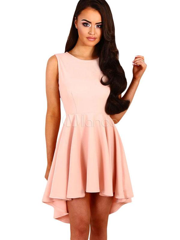 low priced d60bf 48dc9 Vestito rosa da skater abito da sposa rotondo senza maniche in raso alto  basso