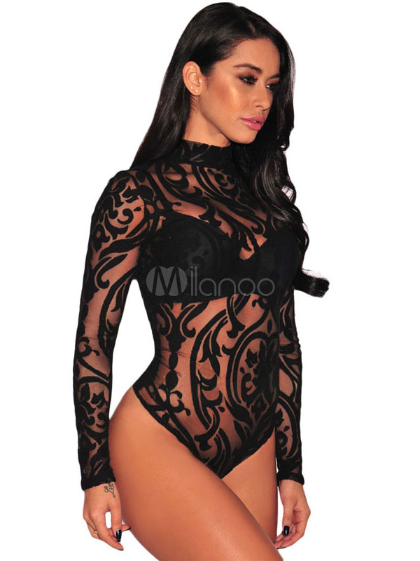 Women's Printed Bodysuit Nets Sheer High Collar Long Sleeve Sexy Lingerie Cheap clothes, free shipping worldwide
