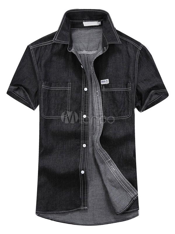 Buy Men's Casual Shirt Cotton Turndown Collar Short Sleeve Pockets Slim Fit Shirt for $22.49 in Milanoo store