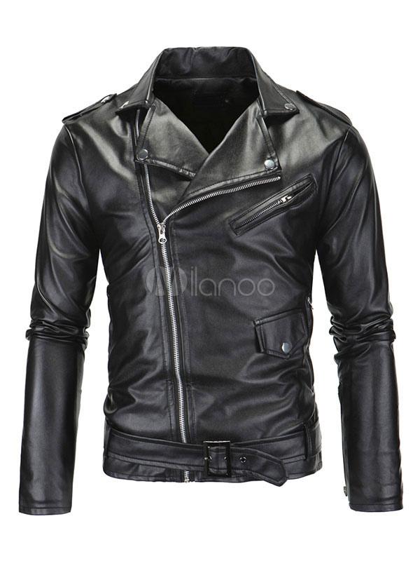 Men's Moto Jacket Metallic Buckled Surplice Turndown Collar Zippers Black Short Jacket