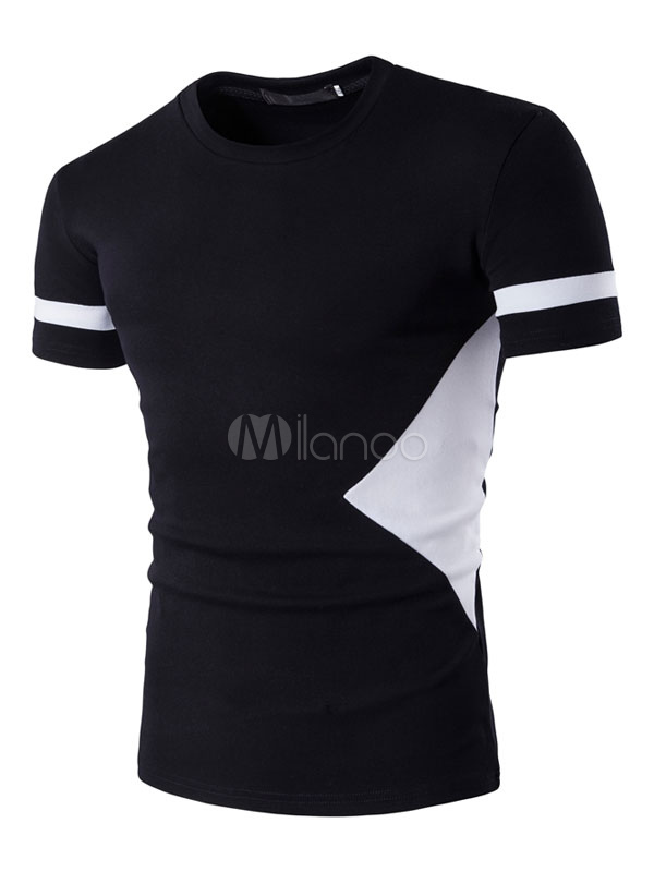 Men's Black T Shirts Short Sleeve Round Neck Color Block Summer Tee Shirt Tops