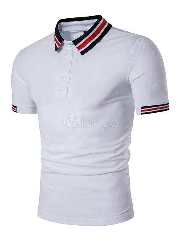 White Polo Shirts Striped Collar Men'S Short Sleeve Summer Tee Shirt Tops
