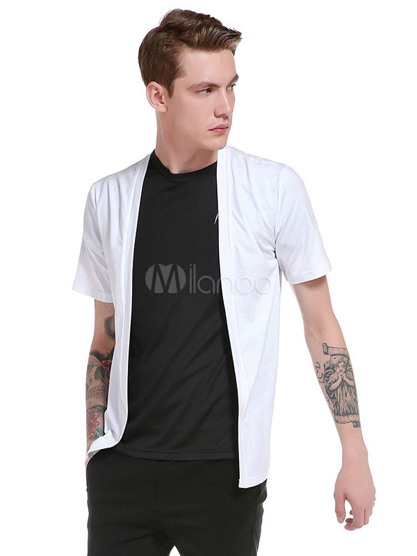 Buy Men's T Shirt Round Neck Short Sleeve Fake Two Piece Casual Top for $18.99 in Milanoo store