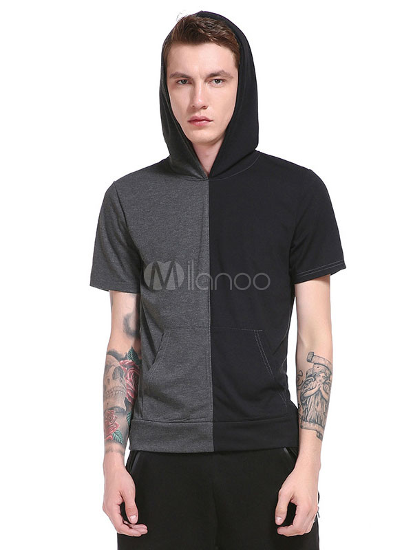 Men's Hoodie T Shirts Short Sleeve Contrast Color Summer Hooded Tops