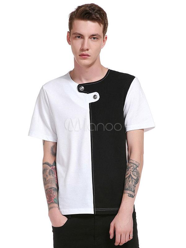Buy White Black T Shirt Men's Short Sleeve Round Neck Split Color Summer T Shirt Tops for $18.99 in Milanoo store