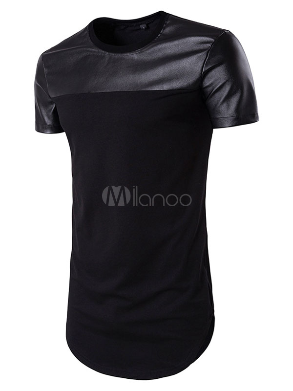 Men's Black T Shirt Longline Short Sleeve Round Neck Summer T Shirt Tops