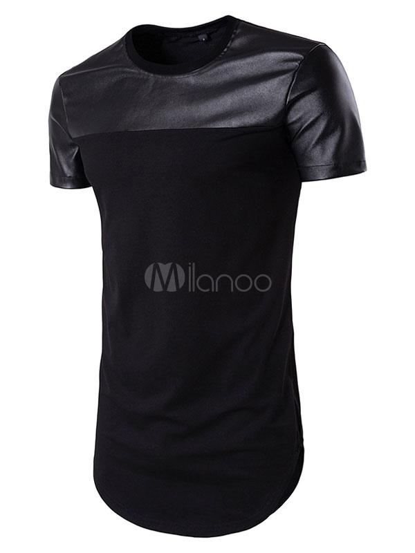 Men's Black T Shirt Longline Short Sleeve Round Neck Summer T Shirt Tops