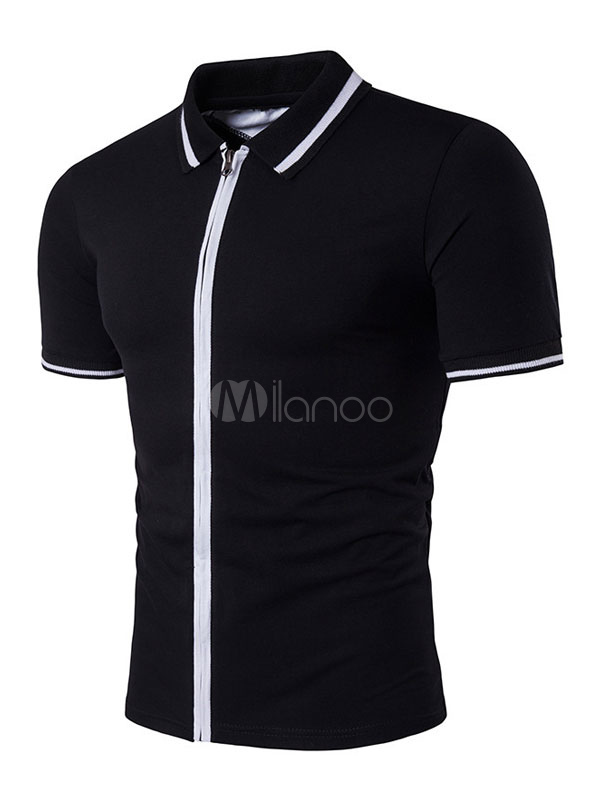 Buy Black Polo Shirt Men's Turndown Collar Short Sleeve Regular Fit Cotton Shirt for $18.99 in Milanoo store