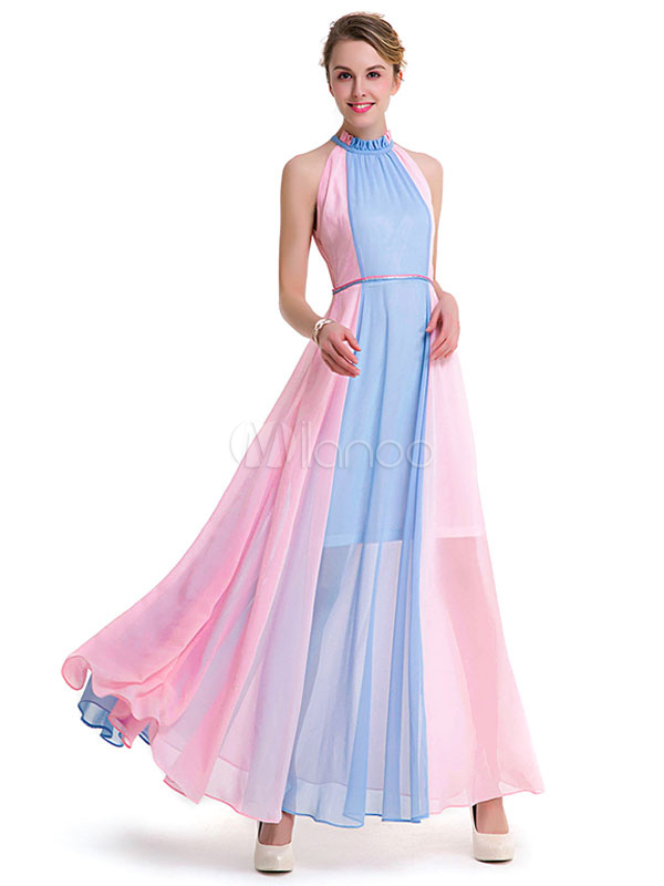 Vestido largo de chifón Escote diseñado de dos tonos con faja sin ...