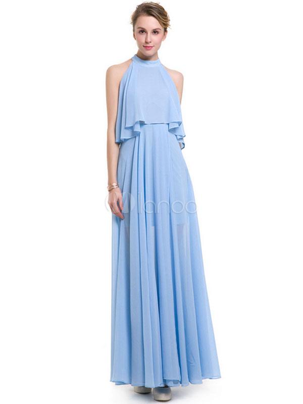 48ec1facc0 Women s Maxi Dress Chiffon Light Sky Blue High Collar Sleeveless Pleated  Long Dress For Women- ...