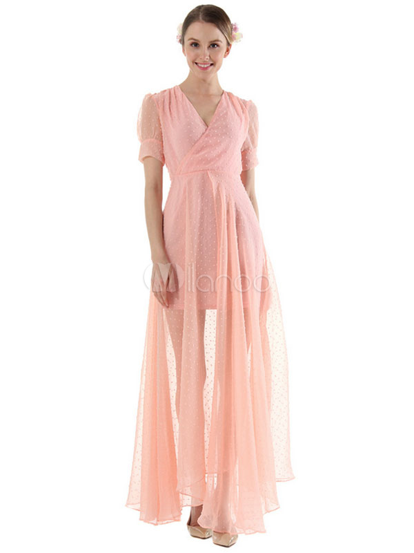 Chiffon Maxi Dress V Neck Short Sleeve Semi-Sheer Pleated Long Dress For Women