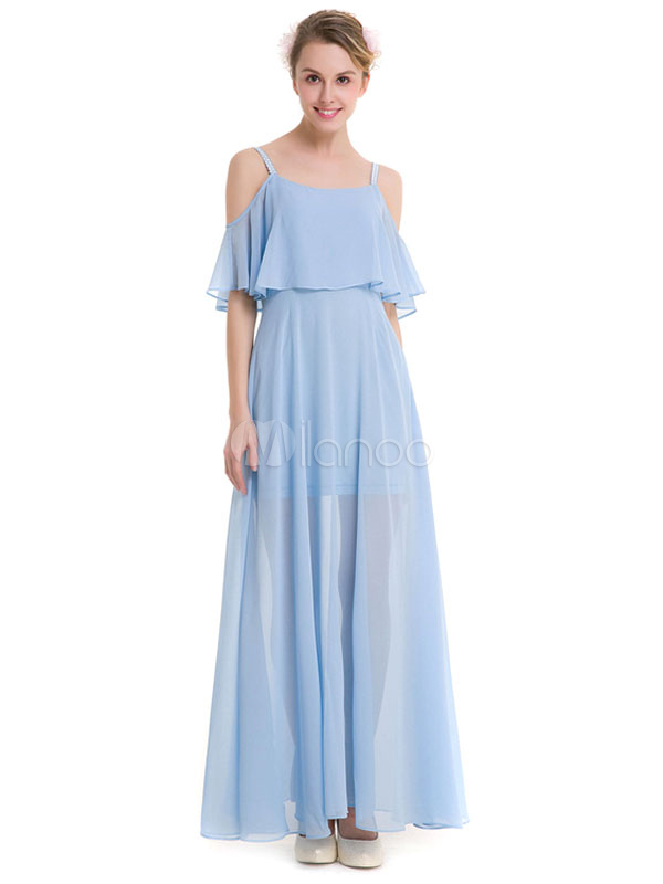 Buy Chiffon Maxi Dress Light Sky Blue Strappy Half Sleeve Cold Shoulder Ruffle Pleated Long Dress for $33.24 in Milanoo store