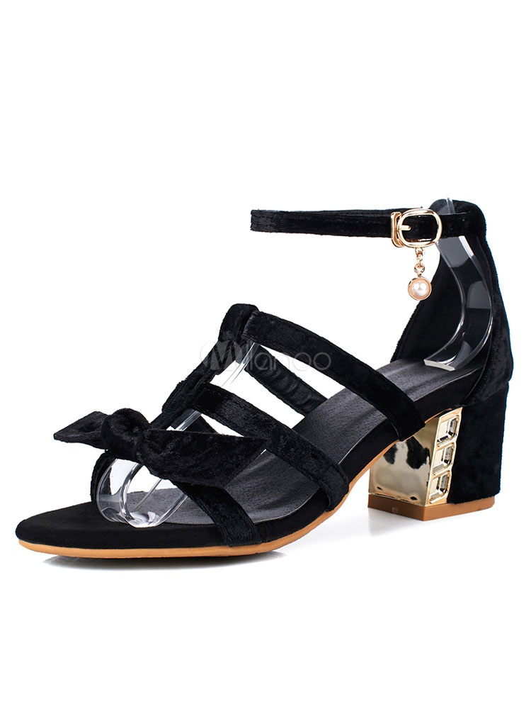 Strappy Block Heel Gladiator Bowknot Sandals - BLACK Cheap Sale Sale Clearance Online Fake For Sale Top Quality 2M4sm