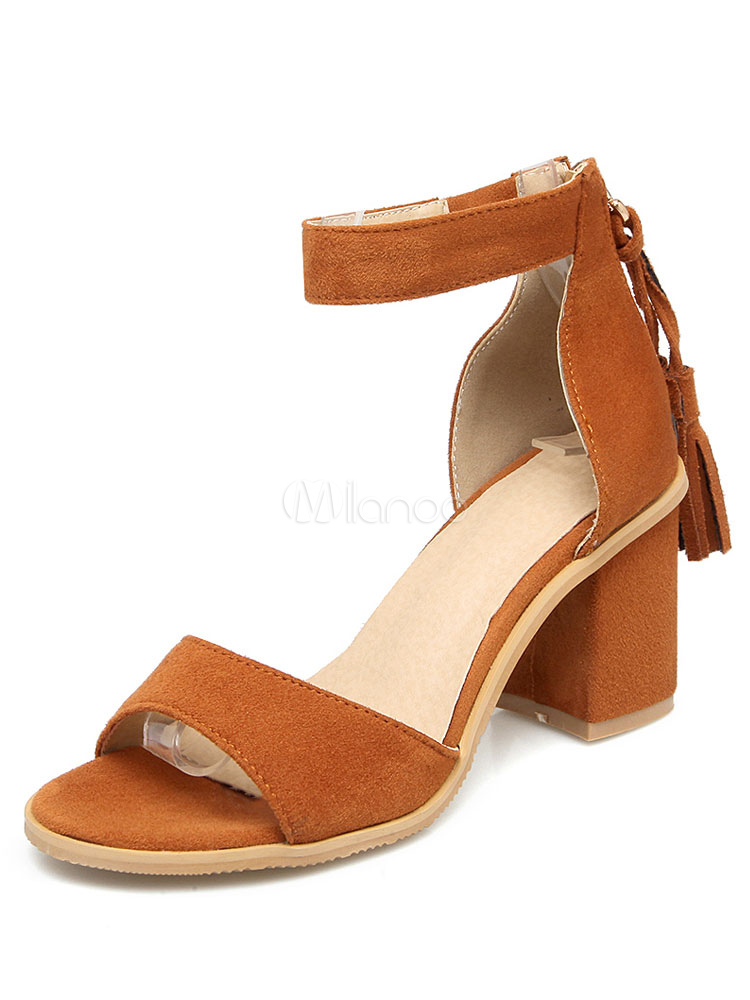 Buy Women's Brown Sandals Suede Mid Chunky Heel Open Toe Ankle Strap Sandal Shoes for $28.79 in Milanoo store