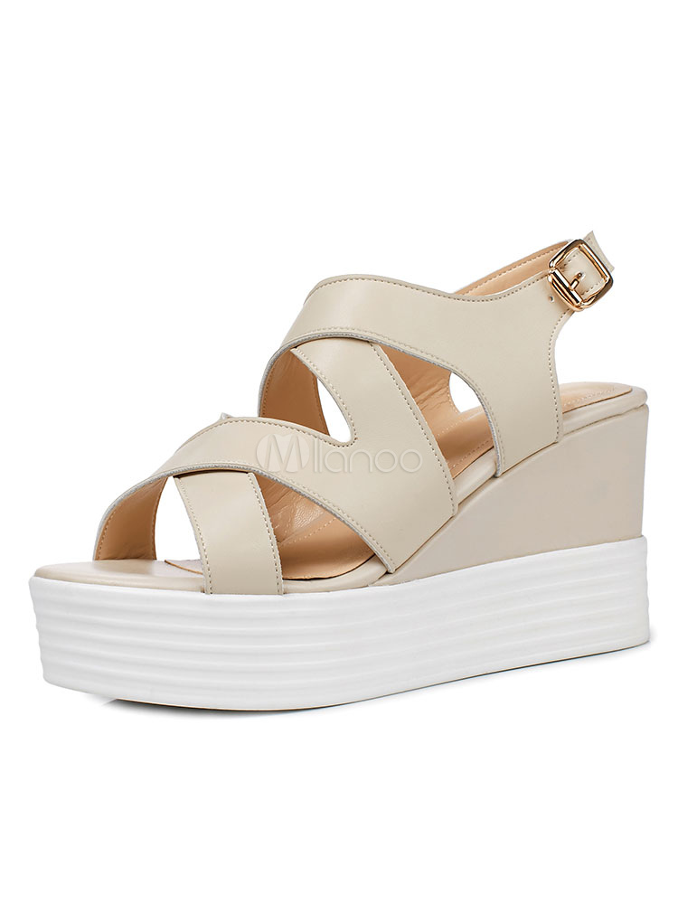 Women's Wedge Sandals Ecru White Open Toe Criss Cross Buckled Sandal Shoes