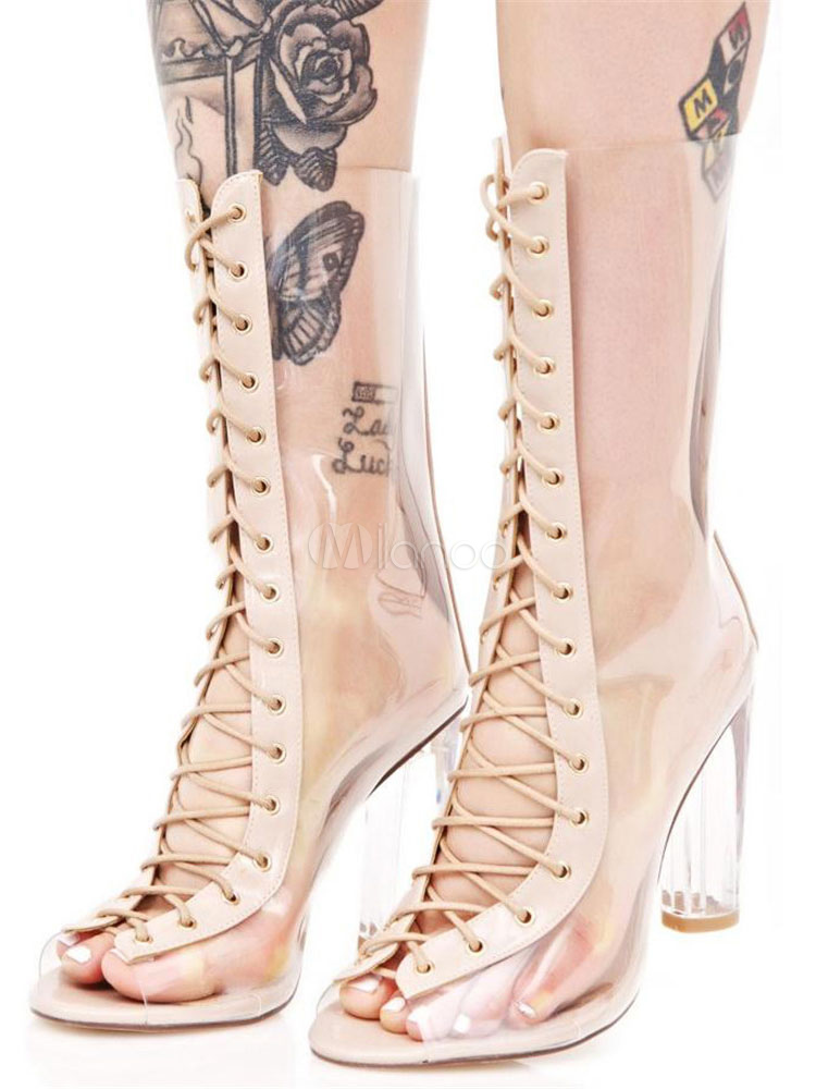 Zapatos estilo moderno de punter Peep Toe de tacón gordo Verano estilo street wear gAReQeE8s