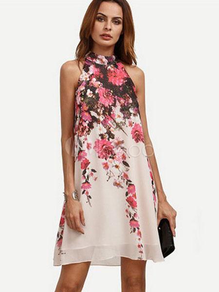 Buy Pink Shift Dress Floral Print Chiffon Halter Women's Sleeveless Summer Swing Dresses for $23.74 in Milanoo store