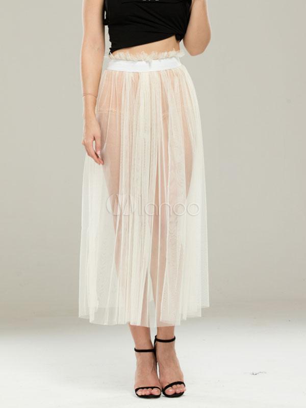 Tulle White Skirt Women's Pleated Semi-Sheer Maxi Skirt