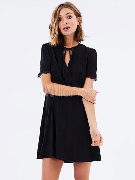 aa3b380a6e7 ... Черное платье фигуриста Короткие женские кружевные лоскутки с короткими  рукавами Летние свинг-платья-No