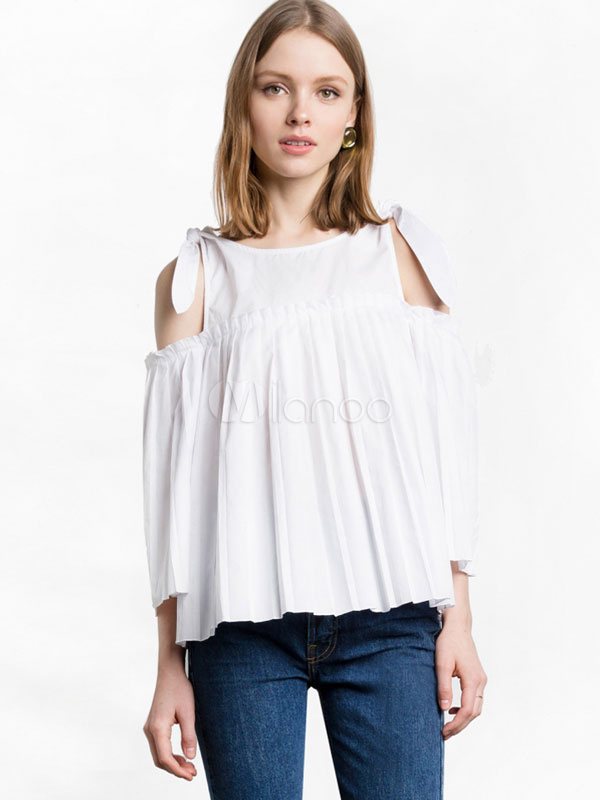 fa50745f1f87ff Women's White Blouse Cold Shoulder Bateau Long Sleeve Strappy Tie Pleated  Chic ...