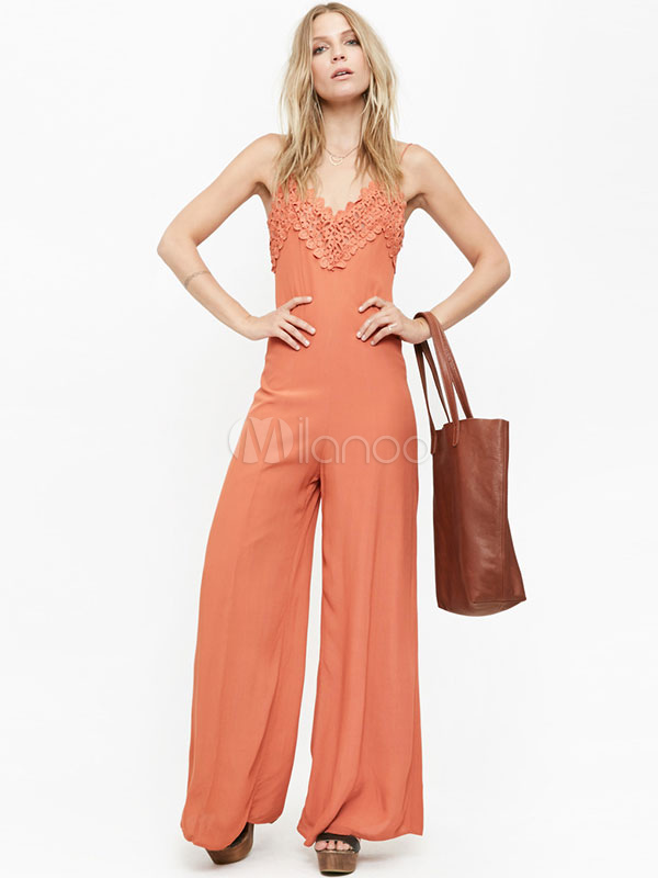 Buy Women's Orange Red Jumpsuit Strappy V Neck Sleeveless Backless Wide Leg Jumpsuit for $26.99 in Milanoo store