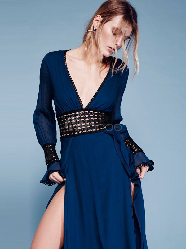 9491a35a9f ... Women s Boho Dress Lace Trim V Neck Long Sleeve Backless Frill High  Slit Cut Out Chic
