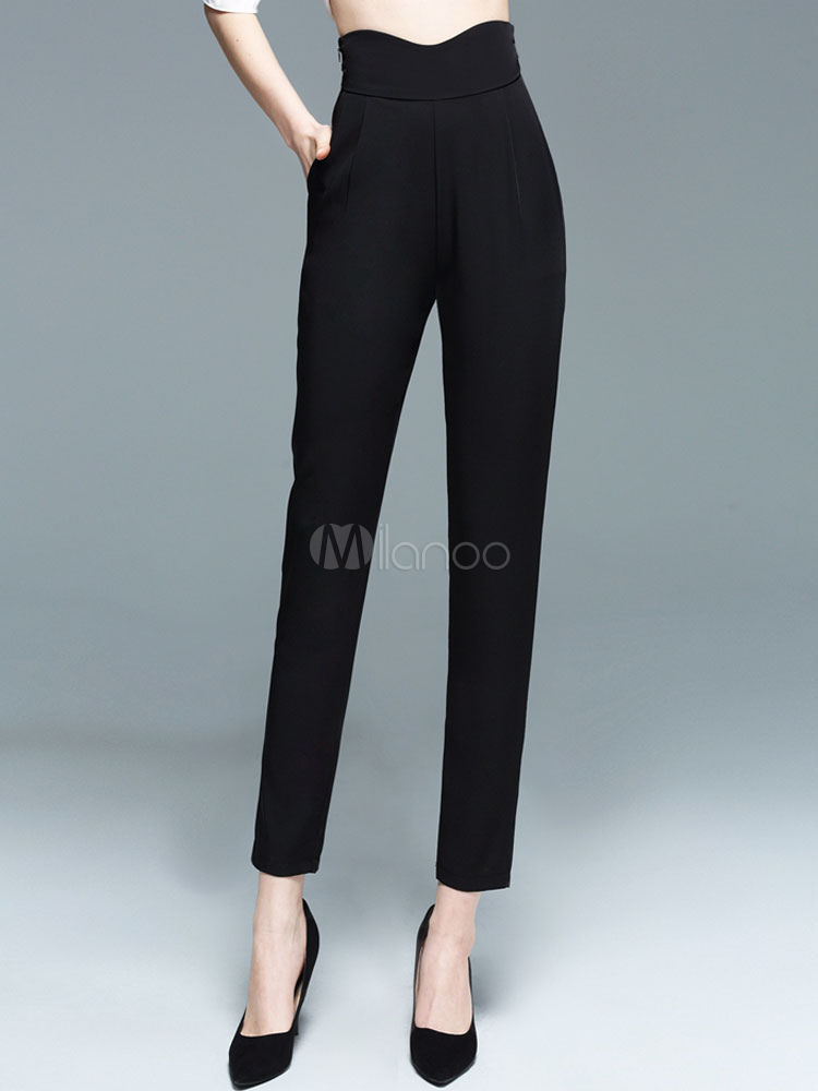 High Waisted Pants Women's Black Tapered Harem Style Pencil Pants Cheap clothes, free shipping worldwide