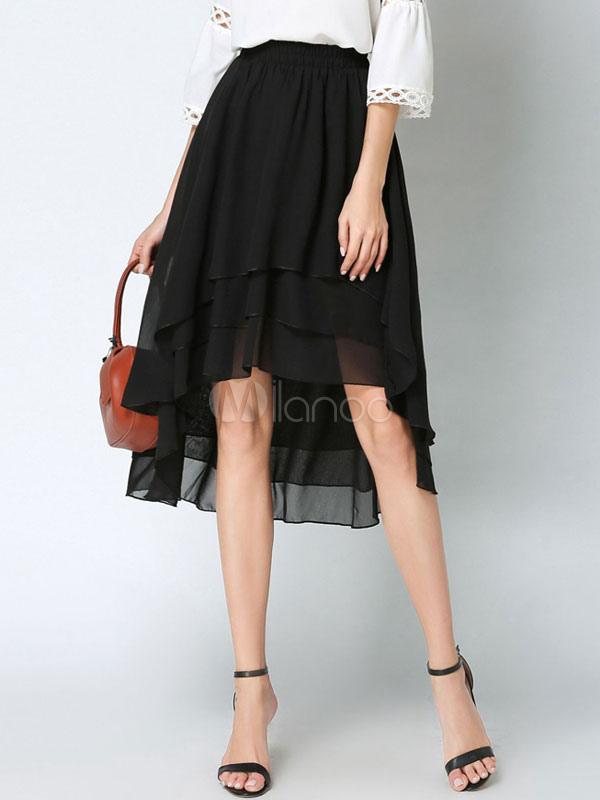 Buy Chiffon Flare Skirt Draped High Low Draped Ruffles Women's Black A Line Layered Skirt for $33.99 in Milanoo store