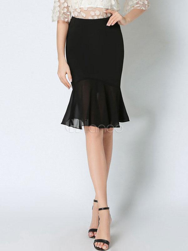 sin impuesto de venta moda de lujo moda más deseable Falda con cronógrafo negra de punto de roma Color liso para fiesta familiar