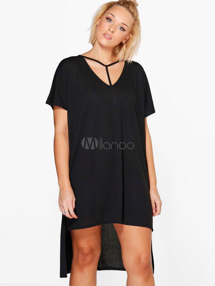 3fd68d33bc80 Vestito a T-shirt cotone nero per ragazze monocolore éstate maniche corte  con scollo a ...