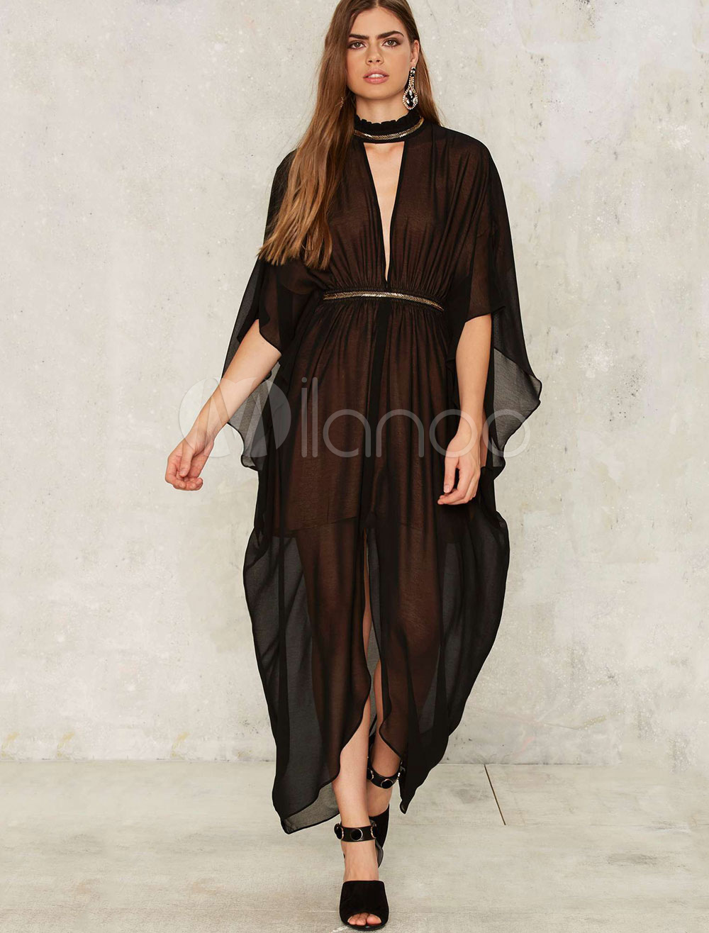 Buy Black Maxi Dress Metallic High Collar Butterfly Sleeve Cut Out Draped Semi Sheer Slit Chic Long Dress for $26.99 in Milanoo store