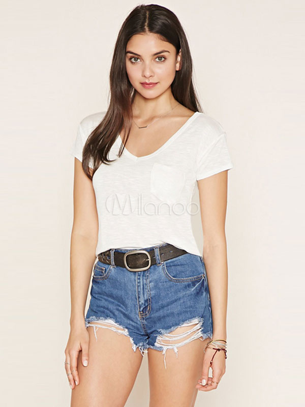 White T Shirt Women's V Neck Short Sleeve Casual Top With Pockets