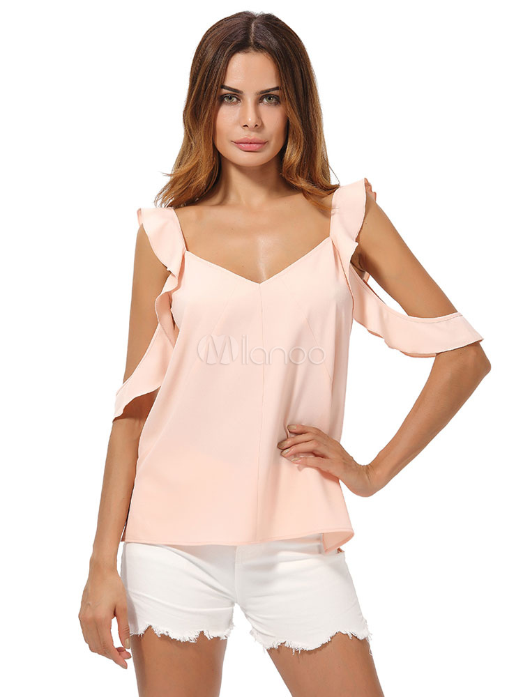 Buy Pink Chiffon Blouse Cold Shoulder V Neck Half Sleeve Ruffles Low Back Women's Chic Top for $18.99 in Milanoo store