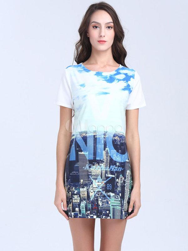 dbb970ff819 White T Shirt Dress Short Sleeve City Printed Women s Summer Shift Dresses-No.  ...