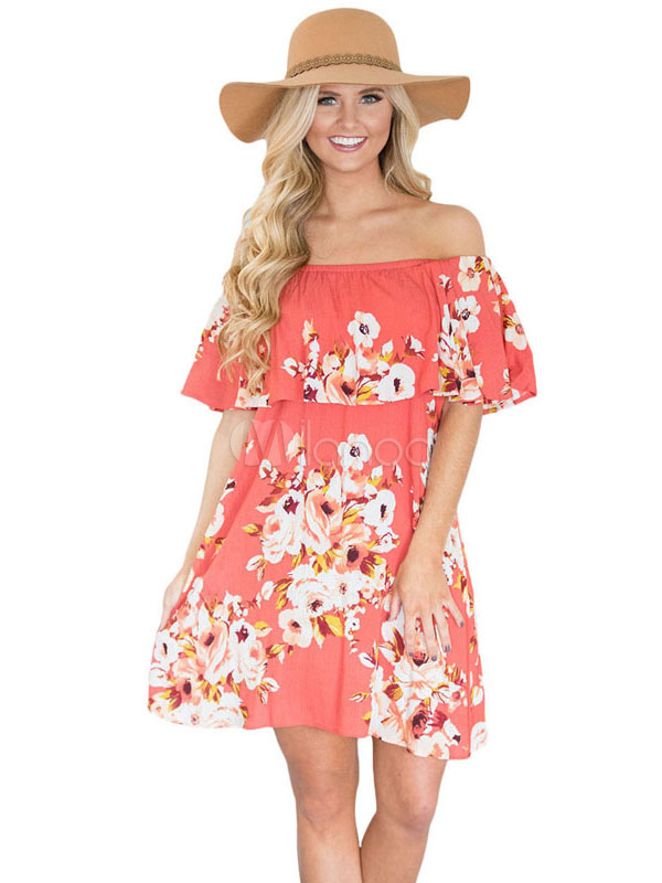 Buy Orange Shift Dress Off The Shoulder Half Sleeve Cascading Ruffles Floral Print Short Summer Dress for $26.99 in Milanoo store