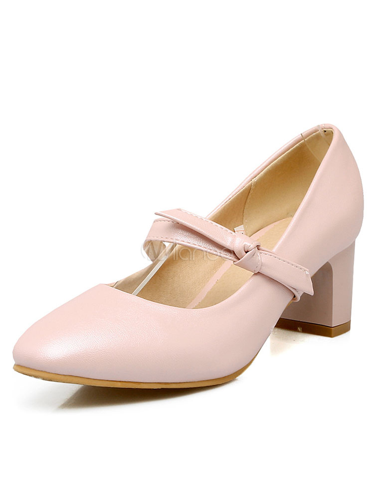 Buy Mary Jane Shoes Square Toe Twisted Women's Chunky Low Heel Pumps for $29.44 in Milanoo store