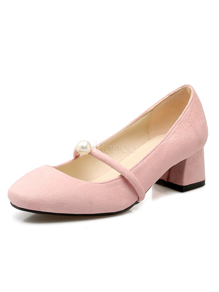 8f5787ee60 Low Heel Pumps Suede Square Toe Pearls Strappy Slip On Women's Puppy Heel  Shoes- ...